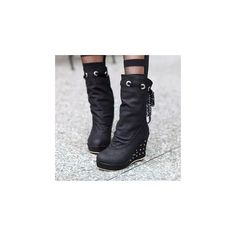 Ruched Studded Wedge Mid-calf Boots ($71) ❤ liked on Polyvore featuring shoes, boots, ankle boots, footware, white high heel boots, platform boots, white boots, high heel boots and short wedge boots