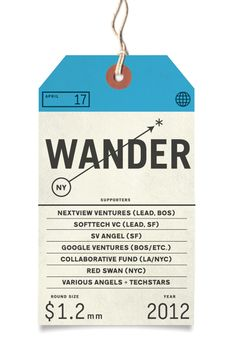 "Wander - a new innovation in social network experiences (launching soon). Described by co-founder Jeremy Fisher as ""a way to the see the world through other people eyes"" and ""a combination of Tumblr, Pinterest, Yelp, Tripadvisor and Foursquare. 