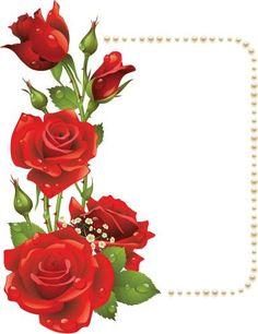Для поздравлений Жемчужная рамка с красивой веткой роз рамки