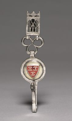 Clavendier (Belt Hook), c. 1400 Netherlands, Gothic period, late 14th century silver, gilded silver, champlevé enamel, Overall: h. 14.95 cm (5 7/8 inches). Purchase from the J. H. Wade Fund 1977.28