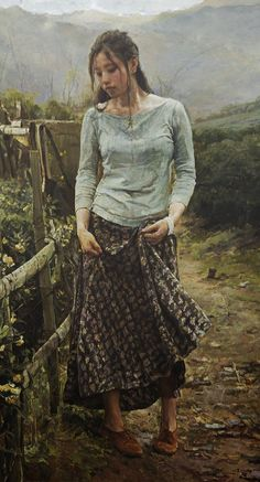 Cui Xiaodong (崔小冬), oil on canvas {contemporary figurative realism art female standing woman cropped painting #loveart}