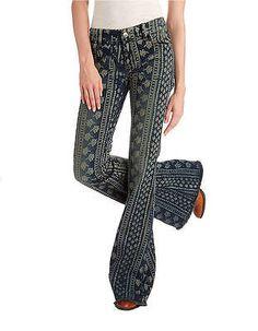NWOT Free People Century Stripe Bali Flare Jeans Indigo Combo size 24