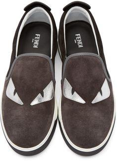 Fendi - Grey & Black Monster Slip-On Sneakers Slip On Sneakers, Shoes Sneakers, Fendi Clothing, Keep Walking, All About Shoes, Favorite Color, High Heels, Vans, Sandals