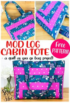 A quilt as you go bag, this mod log cabin tote is perfect to carry your books, projects, or class materials. Sewing this medium sized tote bag uses easy bag construction methods. With a foam stabilizer at the bottom, this bag will sure have a nice sturdy shape to help it stand on its own. Make this quick and easy free pattern tote bag your next sewing project. #tote #bag #totebag #quiltbag #freesewingpattern #sewingpattern #easysewing #fastsewing Easy Bag, Simple Bags, Navy Fabric, Lining Fabric, Quilt Patterns Free, Free Pattern, Cool Diy Projects, Sewing Projects, Memory Crafts