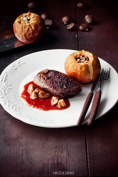 Roasted Duck Breast with Chestnut and Rose Sauce