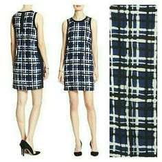 BANANA REPUBLIC Shift Dress! Blue and black plaid, side zipper detailing. 100% rayon; machine washable.  Very cute on...perfect from the office to a fun night out! Banana Republic Dresses