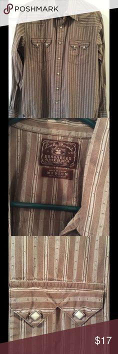 Men's lucky you shirt brown striped M Snap stylish western dress shirt Size M Lucky Brand Shirts Casual Button Down Shirts