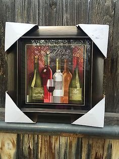 """New 15"""" French  Bistro WALL Plaque Art Wine Glass Kitchen Home Decor"""