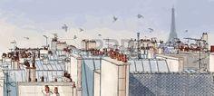 Vector illustration d un point de vue sur les toits de Paris avec la Tour Eiffel Banque d'images