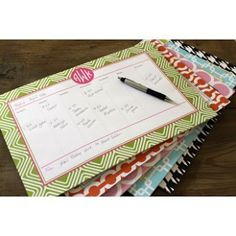 Monogrammed Desk Planner / Calendar. SO CUTE! From In This Very Room.  Click link for more info!