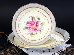 Coalport Tomorrow Teacup and Saucer, High Handled Floral English Tea Cup, Fine Bone China 13220