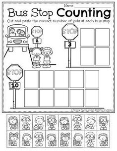 Count the Number of Students at the Bus Stop!! - Back to School Preschool Worksheets Preschool Binder, Preschool Age, Preschool Worksheets, Preschool Activities, Back To School Worksheets, Back To School Activities, Hands On Activities, Recess Games, Early Education