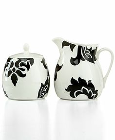 Martha Stewart Collection Lisbon Black Sugar Bowl and Creamer Set