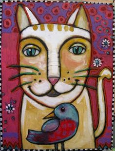 SUCH A HANDSOME FELINE AND THE BIRD'S NOT BAD EITHER.....SUZAN BUCKNER