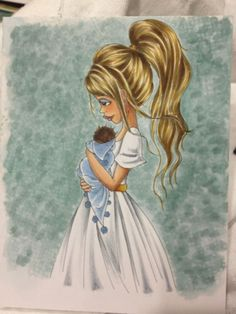 Sweet Little Thing. dress white (shaded with cool grays) and her skin with my favorite skin color combo (E50, E21, E34) and then added streaky blond hair with Y00, Y21, Y26, and E34.  The background was done by squashing the brush nib down (really squeezing out the ink) with BG70, BG72, BG75 and the colorless blender.