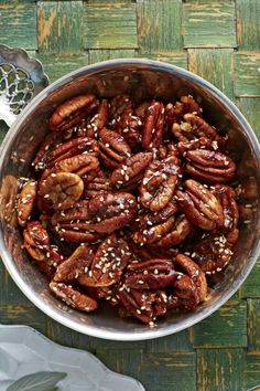 Thanksgiving Appetizers: Benne-Maple Roasted Pecans