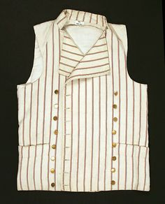 Waistcoat (at the Metropolitan Museum of Art) 1785–95, British Medium: cotton Dimensions: Length at CB: 24 3/8 in. (61.9 cm) Purchase, Irene Lewisohn Bequest, 1988 Accession Number: 1988.242.1