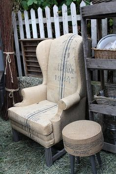 Love this chair and ottoman covered in burlap coffee sacks.
