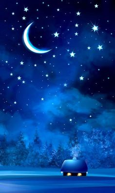 I wish I was in that cozy little cabin in the middle of no where sometimes. Good night sweet dreams my friend. May God bless you and your family. Sky Moon, Moon Art, Galaxy Wallpaper, Wallpaper Backgrounds, Fantasy Landscape, Fantasy Art, Moonlight Painting, Moon Pictures, Good Night Sweet Dreams