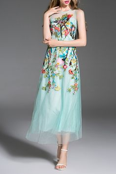 Blueoxy Light Green Embroidered Tulle Evening Dress | Maxi Dresses at DEZZAL