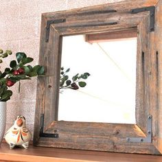 rustic industrial decor | Rustic Industrial Eco Decor Reclaimed Wood Mirror - 18x18 finished ...