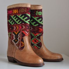 Stunning authentic handcrafted tan leather kilim by SeeAndBelong, £130.00