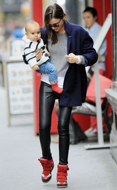 700 dollar Isabel Marant sneakers on Miranda with those leather leggings....♥