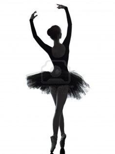 one caucasian young woman ballerina ballet dancer dancing with tutu in silhouette studio on white background Stock Photo