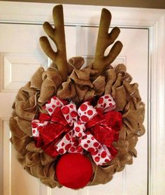 Burlap Rudolph Reindeer Holiday Wreath