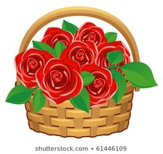 Basket with Flowers Stock Illustrations, Images & Vectors Rose Basket, Stock Illustrations, Crochet Ideas, Red Roses, Vectors, Numbers, Mosaic, Royalty Free Stock Photos, Vase