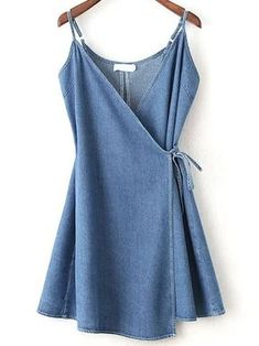 Shop Wrap Cami Dress With Tie Detail online. SheIn offers Wrap Cami Dress With T… Shop Wrap Cami Dress With Tie Detail online. SheIn offers Wrap Cami Dress With Tie Detail & more to fit your fashionable needs. Cute Dresses, Casual Dresses, Cute Outfits, Denim Dresses, Slip Dresses, Casual Wear, Summer Dresses, Short Dresses, Flowy Dresses