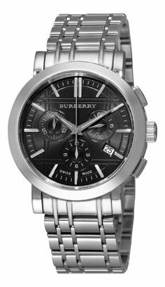 Men's Heritage Chronograph Stainless Steel Case and Bracelet Navy Blue Dial Date Display Burberry. $449.95