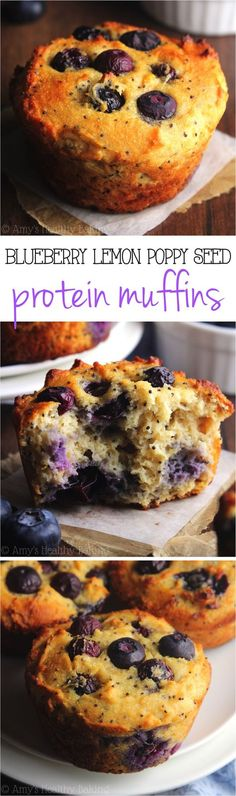 Blueberry Lemon Poppy Seed Protein Muffins - A quick, easy and healthy breakfast treat! They're packed with 8g+ protein and practically taste like cupcakes!