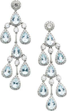 Aquamarine, Diamond, & White Gold Chandelier Earrings