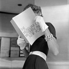 Model Jean Patchett Modeling Cheap White Touches That Set Off Expensive Black Dress Fotodruck