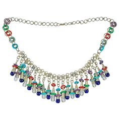Exotic Silver Tone Beaded Necklace at 1stdibs