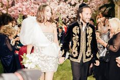 Originally, I wanted to carry orchids for my bouquet, but Giamba told me to carry roses because Versailles is all about roses. Ronen wore an Alexander McQueen black velvet jacket with Zardozi embroidery and gold bullion embroidered sunflowers from the Spring '17 men's ready-to-wear collection, paired with Berluti shoes. #mygoldbullion