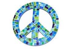Blue and Green Mosaic Peace Sign Wall Art by GreenStreetMosaics, $30.00