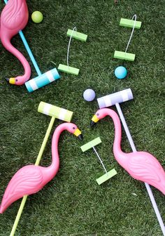 Make Your Own Alice in Wonderland Croquet Set: Maker of Amazing Things Amber Kemp-Gerstel shares her easy DIY for creating these cute flamingo mallets. It's a great idea for an Alice in Wonderland party. or just a fun twist on a popular outdoor game. Alice In Wonderland Croquet, Alice In Wonderland Birthday, Alice In Wonderland Party Ideas, Alice In Wonderland Flamingo, Alice In Wonderland Printables, Winter Wonderland, Pink Flamingo Party, Pink Flamingos, Plastic Flamingos