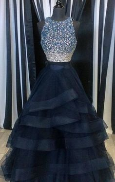 Popular Two Pieces Beaded Tulle Prom Dress, Ball Gowns, Navy Blue Prom Dress, Two Piece Prom Dresses, Luxury Beaded Prom Dress, Senior Prom Dress,198