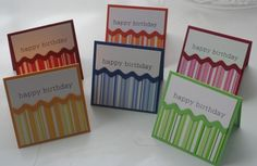 Hand Stamped Mini Striped Birthday Card Set of 6   Laurascrafts - Cards on ArtFire