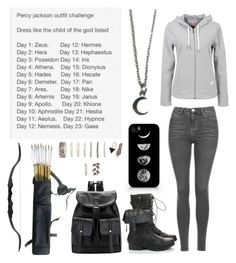 """""""Percy Jackson Outfit Challenge - Day 8 - Huntress of Artemis"""" by insane-alice-madness ❤ liked on Polyvore featuring Samsung, Zara Taylor, Forever 21 and Topshop"""