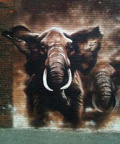 Logan Miller and Viviana Astudillo. Toronto, CA - elephant street art Graffiti Art, Murals Street Art, 3d Street Art, Street Art Graffiti, Mural Art, Street Artists, Wall Street, Airbrush Art, Amazing Street Art