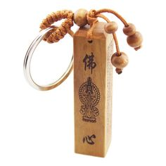 FOY-MALL Buddha Heart Great Compassion Mantra Jujube Wood Carved Men Women Car Key Ring for Good Luck M1116 ** To view further, visit now : Valentine Gifts