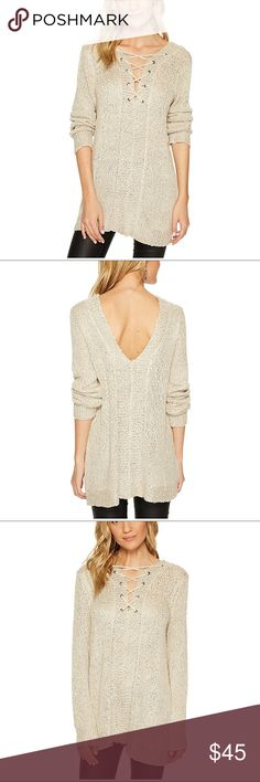 NWT BBDAKOTA pale gold w/ metallic sequin sweater Elevate your style in this Jack by BB Dakota™ sweater. It has a relaxed fit. Sequins throughout a sweater-knit fabrication. V-neckline and back. Lace-up detail at front of neck. Long sleeves. Straight hemline. Pull-on. 68% acrylic, 32% nylon. Hand wash cold and lay flat to dry. Product measurements were taken using size Small, Length: 30 1⁄2 in Jack by BB Dakota Sweaters V-Necks