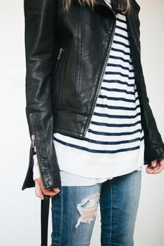 Here comes the cold weather. Ripped jeans, leather jacket & stripes