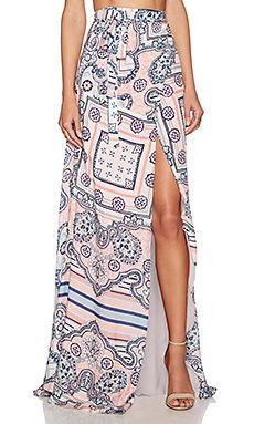 THE JETSET DIARIES Somewhere Maxi Skirt in Paisley Print