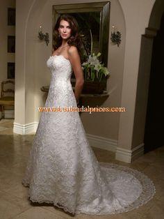 Uniques Brautkleid aus Satin A-Linie mit Spitze online kaufen