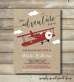 Airplane Boy Baby Shower Invite Invitation Clouds Plane Burlap Rustic Red Black White Cute Unique Vintage The Adventure Begins Aeroplane DIY