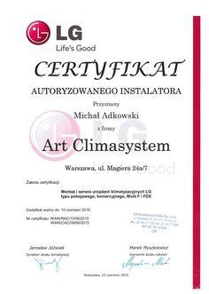 Certyfikat autoryzacji na montaż i serwis urządzeń klimatyzujących LG.